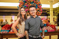 Crise Fernandes e Matheus Tauber no coquetel para patrocinadores, parceiros e lojistas do Viva Open Mall. FOTO: Jefferson Bernardes/ Agência Preview