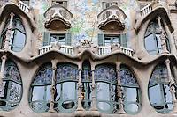 Spain, Barcelona. Casa Batlló is one of Antoni Gaudí's masterpieces. Facade