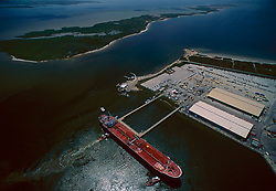 Aerial view of a tanker docked in the Port of Houston