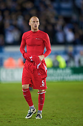 HELSINKI, FINLAND - Saturday, October 10, 2009: Wales' James Collins after the 2010 FIFA World Cup Qualifying Group 4 match against Finland at the Olympic Stadium. (Pic by David Rawcliffe/Propaganda)