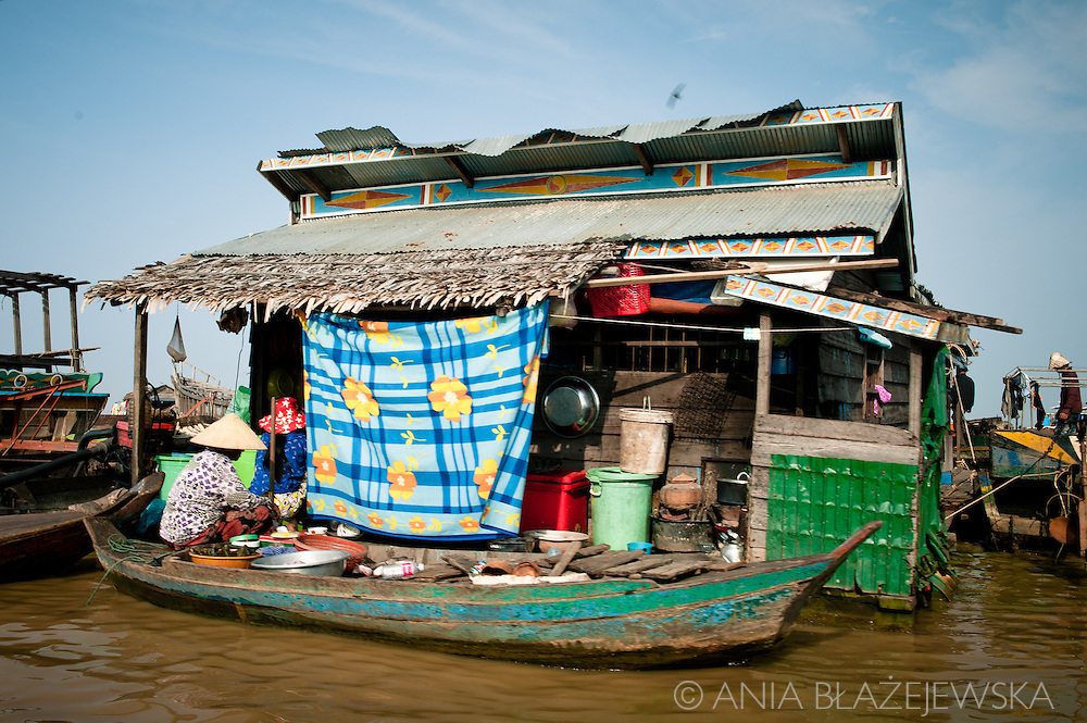 Cambodia, Tonle Sap. One of the floating house built on the water of the lake.