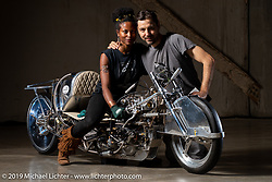 Jalika Gaskin and Alp Sungurtekin with a custom 1950 Ironhead Triumph with all handmade bodywork built by Alp, which was the first vintage bike to reach 200mph. Originally rated at 33 bh in 1953, this bike running on 98% nitro methane is rated at 175+ hp. At the Handbuilt Show. Austin, TX. USA. Thursday April 19, 2018. Photography ©2018 Michael Lichter.