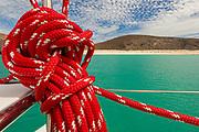 Rigging rope, Sailboat Orion, February, Playa Ballandria, Sea of Cortez near La Paz, Baja, Mexico