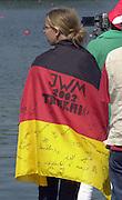 Trakai, LITHUANIA.  German supporter wearing the German Flag, 2002 Junior World Rowing Championships, on Lake Galva Friday  09/08/2002 [Mandatory Credit: Peter Spurrier/ Intersport Images] 200208 Junior World Rowing Championships, Trakai, LITHUANIA