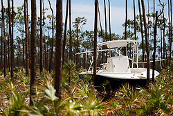 A boat can be seen sitting in a wooded in Freeport, Bahamas on Friday, September 6, 2019. Thousands of Bahamians are heading to Freeport Harbor trying to escape Hurricane Dorian's devastation. Photo by Matias J. Ocner/Miami Herald/TNS/ABACAPRESS.COM