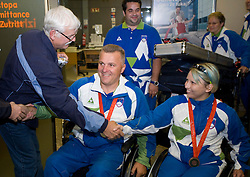 Joze Flere with silver, Mateja Pintar with bronze paraolympic medal at welcome ceremony at Airport Joze Pucnik, on September 20, 2008, in Brnik, Slovenia. (Photo by Vid Ponikvar / Sportal Images)./ Sportida)