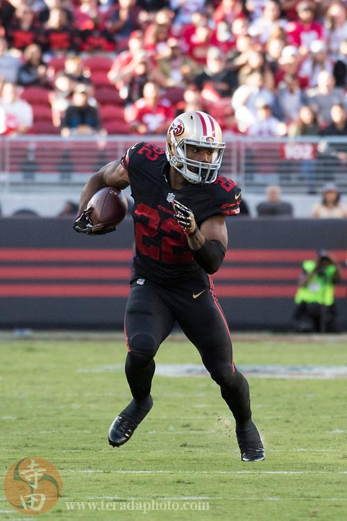 September 21, 2017; Santa Clara, CA, USA; San Francisco 49ers running back Matt Breida (22) during the first quarter against the Los Angeles Rams at Levi's Stadium. The Rams defeated the 49ers 41-39.