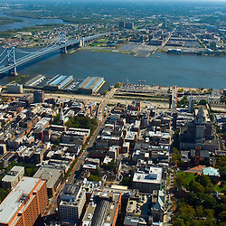 Aerial view of Old City and penn Landing Ben Franklin Broidge in Philadlephia