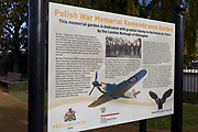 An information board in the Remembrance Garden (opened 2015), detailing the service and sacrifice of fallen WW2 Polish Air Force crews, at the Polish War Memorial, on 6th November 2019, in South Ruislip, Northolt, London, England. The Polish War Memorial is in memory of airmen from Poland who served in the Royal Air Force as part of the Polish contribution to World War II. The memorial was designed by Mieczyslaw Lubelski, who had been interned in a forced labour camp during the war. It is constructed from Portland stone with bronze lettering and a bronze eagle, the symbol of the Polish Air Force. The original intention was to record the names of all those Polish airmen who lost their lives while serving during WW2 (a total of 2,408) but there was not enough space for this and, as a compromise, the names of the 1,241 who died in operational sorties are there instead.