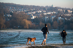 © Licensed to London News Pictures. 12/12/2017. London, UK. Dog walkers in icy conditions on Hampstead Heath in north London on a freezing morning. Temperatures across the the UK dipped overnight with some regions expected to drop to -13C (9F). Photo credit: Ben Cawthra/LNP