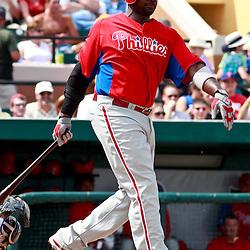 March 9, 2011; Lakeland, FL, USA; Philadelphia Phillies first baseman Ryan Howard (6) during a spring training exhibition game against the Detroit Tigers at Joker Marchant Stadium.   Mandatory Credit: Derick E. Hingle