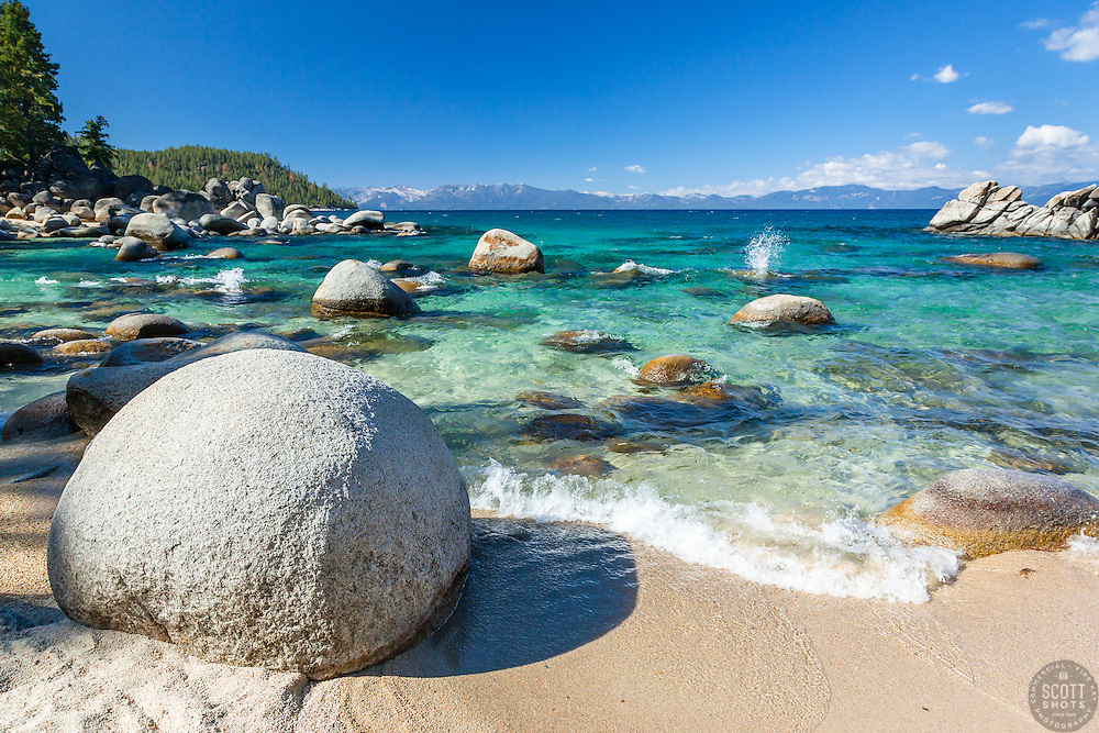 """""""Boulders at Secret Cove 3"""" - These boulders shoreline were photographed at Secret Cove on the East Shore of Lake Tahoe."""