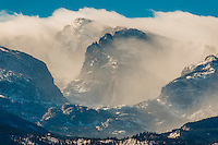View from Estes Parks to Rocky Mountain National Park in winter, Colorado USA.