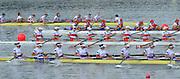 Chungju, South Korea.  Final Women's Eights W8+2013 FISA World Rowing Championships, Tangeum Lake International Regatta Course.15:54:14  Sunday  01/09/2013 [Mandatory Credit. Peter Spurrier/Intersport Images]<br /> <br /> 1USA w8+. Amanda POLK (b) , Kerry SIMMONDS (2) , Emily REGAN (3) , Lauren SCHMETTERLING (4) , Grace LUCZAK (5) , Meghan MUSNICKI (6) , Victoria OPITZ (7) , Caroline LIND (s) , Katelin SNYDER.<br /> <br /> 2ROU W8+ Cristina ILIE (b) , Ionelia ZAHARIA (2) , Cristina GRIGORAS (3) , Ioana CRACIUN (4) , Camelia LUPASCU (5) , Andreea BOGHIAN (6) , Roxana COGIANU (7) , Nicoleta ALBU (s) , Daniela DRUNCEA (<br /> 3CAN W8+. Lisa ROMAN (b) , Jennifer MARTINS (2) , Carolyn GANES (3) , Susanne GRAINGER (4) , Sarah BLACK (5) , Christine ROPER (6) , Natalie MASTRACCI (7) , Cristy NURSE (s) , Kristen KIT<br /> 4GBR W8+ Melanie WILSON (b) , Caragh MCMURTRY (2) , Louisa REEVE (3) , Beth RODFORD (4) , Jessica EDDIE (5) , Zoe LEE (6) , Katie GREVES (7) , Olivia CARNEGIE-BROWN (s) , Zoe DE TOLEDO <br /> <br /> 5AUSW8+ Hannah VERMEERSCH (b) , Renee CHATTERTON (2) , Peta WHITE (3) , Katrina BATEMAN (4) , Tess GERRAND (5) , Alexandra HAGAN (6) , Charlotte SUTHERLAND (7) , Lucy STEPHAN (s) , Elizabeth PATRICK. <br /> 6NEDW8+ Marleen VERBURGH (b) , Kyra DE VRIES (2) , Aletta JORRITSMA (3) , Janneke VAN DER MEULEN (4) , Kirsten WIELAARD (5) , Dominique Van der PAUW (6) , Rosa BAS (7) , Heleen BOERS (s) , Jonna DE VRIES (c)