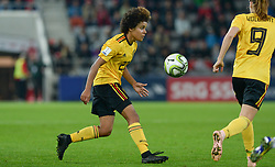 October 9, 2018 - Biel, SWITZERLAND - Belgium's Kassandra Ndoutou Eboa Missipo pictured in action during a soccer game between Switzerland and Belgium's national team the Red Flames, Tuesday 09 October 2018, in Biel, Switzerland, the return leg of the play-offs qualification games for the women's 2019 World Cup. BELGA PHOTO DAVID CATRY (Credit Image: © David Catry/Belga via ZUMA Press)