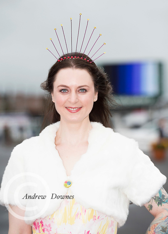 28/07/2016 repro free  <br /> <br /> Milliner Andrea Tighe, from Galway at The g Hotel Best Dressed competitions on Ladies day of The Galway Races . Photo:Andrew Downes, xposure