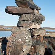 An Inuksuk greets people at Elu Lodge in Nunavut, Canada.
