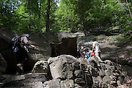 Bear Mountain, New York - Hikers at National Trails Day on the Appalachian Trail at Bear Mountain on June 5, 2010. A ceremony and hike celebrated the reconstruction of this original section of the Appalachian Trail.