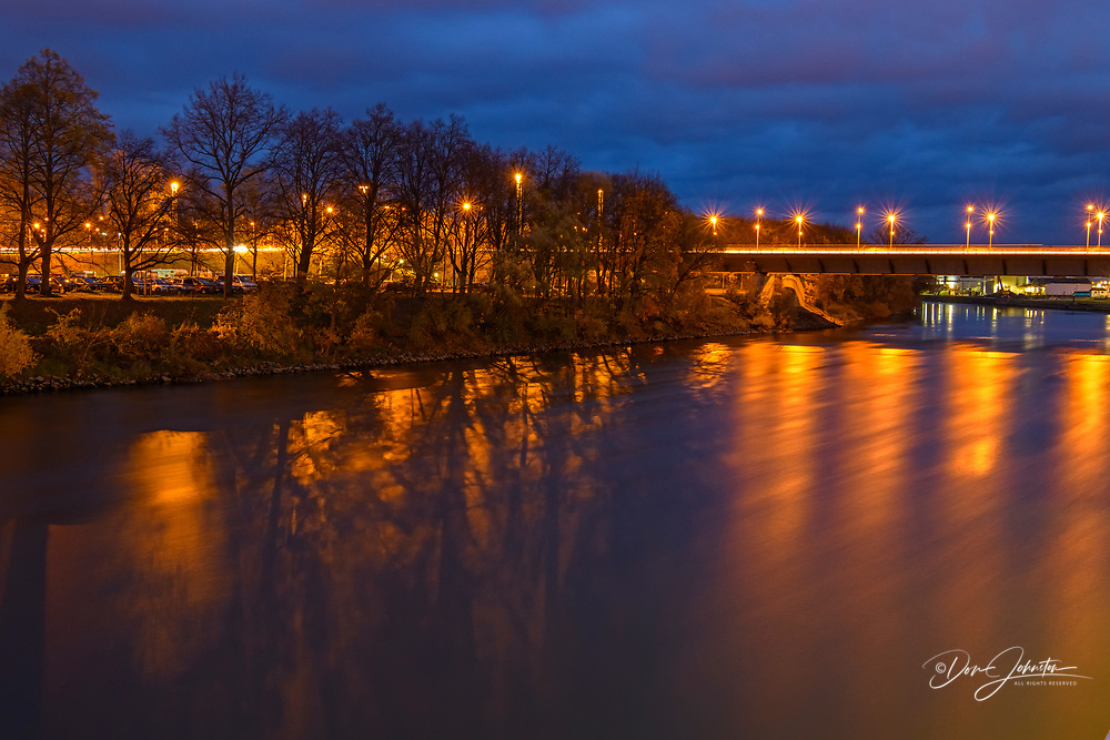 River Danube and Bridge at night, Regensburg, Bavaria, Germany