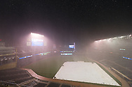 The rain pours down on Target Field delaying the start of the game between the Minnesota Twins and Milwaukee Brewers by 2 hours on July 1, 2011 in Minneapolis, Minnesota.
