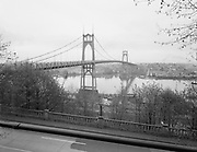 0601-A02 St. Johns Bridge with street lights. Portland, Oregon. Early 1960s.