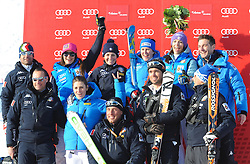 12.01.2013, Karl Schranz Abfahrt, St. Anton, AUT, FIS Weltcup Ski Alpin, Abfahrt, Damen, Podium, im Bild Daniela Merighetti (ITA, Platz 2) mit Team // 2nd place Daniela Merighetti of Italy celebrate on Podium with her Team during ladies Downhill of the FIS Ski Alpine World Cup at the Karl Schranz course, St. Anton, Austria on 2013/01/12. EXPA Pictures © 2013, PhotoCredit: EXPA/ Spiess