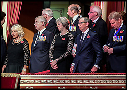November 12, 2016 - London, United Kingdom - Image ©Licensed to i-Images Picture Agency. 12/11/2016. London, United Kingdom. Royal Festival of Remembrance. ...Prime Minister Theresa May and her husband Philip (second right) stand alongside the Duke of York and the Duchess of Cornwall at the annual Royal Festival of Remembrance at the Royal Albert Hall in London..Picture by  i-Images / Pool (Credit Image: © i-Images via ZUMA Wire)