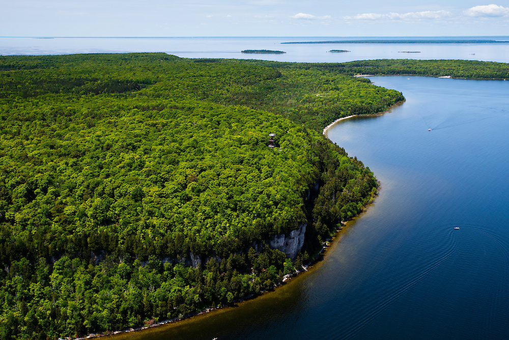 Aerial view of Eagle Bluff and the Eagle Bluff Tower, Peninsula State Park, Door County, Wisconsin, between the towns of Fish Creek and Ephraim.