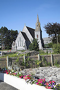 Ballyvaughan village church with spire, County Clare, Ireland