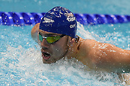 James Guy on his way to a team Gold Medal in the 4 x 100m Medley duringday 14 of the 33rd  LEN European Aquatics Championship Swimming Finals 2016 at the London Aquatics Centre, London, United Kingdom on 22nd May 2016. Photo by Martin Cole.