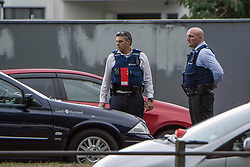 March 16, 2019 - Christchurch, New Zealand - Police work in Deans Avenue outside the Mosque after shooting incidents at the Mosque in Deans Avenue and the Linwood Islamic Centre, Linwood Avenue, Christchurch, New Zealand, March 16, 2019. (Credit Image: © David Alexander/SNPA/ZUMAPRESS.com)