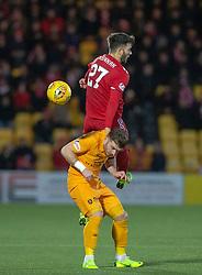 Aberdeen's Stevie May over Livingston Nicky Cadden. Livingston 1 v 2 Aberdeen, SPFL Ladbrokes Premiership played 29/1/2018 at Livingston home ground, Tony Macaroni Arena.