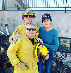 "Caitlyn Jenner releases a photo on Instagram with the following caption: ""God bless the first responders that have been working tirelessly, around the clock, to protect people and property. Thank you all so much!"". Photo Credit: Instagram *** No USA Distribution *** For Editorial Use Only *** Not to be Published in Books or Photo Books ***  Please note: Fees charged by the agency are for the agency's services only, and do not, nor are they intended to, convey to the user any ownership of Copyright or License in the material. The agency does not claim any ownership including but not limited to Copyright or License in the attached material. By publishing this material you expressly agree to indemnify and to hold the agency and its directors, shareholders and employees harmless from any loss, claims, damages, demands, expenses (including legal fees), or any causes of action or allegation against the agency arising out of or connected in any way with publication of the material."