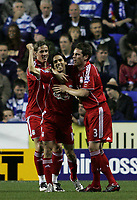 Photo: Lee Earle.<br /> Reading v Liverpool. Carling Cup. 25/09/2007. Liverpool's Yossi Benayoun (C) is congratulated by Fernado Torres (L) and Steve Finnan.