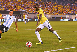 September 11, 2018 - East Rutherford, NJ, U.S. - EAST RUTHERFORD, NJ - SEPTEMBER 11:  Colombia defender Deiver Machado (3) during the first half of the International Friendly Soccer game between Argentina and Colombia on September 11, 2018 at MetLife Stadium in East Rutherford, NJ.   (Photo by Rich Graessle/Icon Sportswire) (Credit Image: © Rich Graessle/Icon SMI via ZUMA Press)