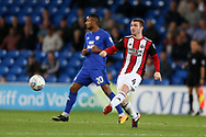 John Fleck of Sheffield United (4) in action. EFL Skybet championship match, Cardiff city v Sheffield Utd at the Cardiff City Stadium in Cardiff, South Wales on Tuesday 15th August 2017.<br /> pic by Andrew Orchard, Andrew Orchard sports photography.