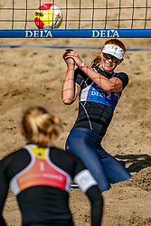 Jantine van der Vlist in action. The Final Day of the DELA NK Beach volleyball for men and women will be played in The Hague Beach Stadium on the beach of Scheveningen on 23 July 2020 in Zaandam.