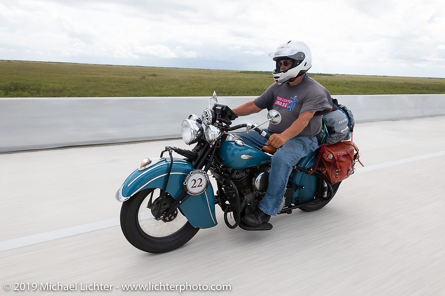 Don Gilmore riding his 1940 Indian Chief in the Cross Country Chase motorcycle endurance run from Sault Sainte Marie, MI to Key West, FL. (for vintage bikes from 1930-1948). Stage-9 covered 259 miles from Lakeland, FL to Miami, FL USA. Saturday, September 14, 2019. Photography ©2019 Michael Lichter.