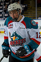 KELOWNA, CANADA - FEBRUARY 2: Cole Carrier #12 of the Kelowna Rockets warms up against the Kamloops Blazers on February 2, 2019 at Prospera Place in Kelowna, British Columbia, Canada.  (Photo by Marissa Baecker/Shoot the Breeze)