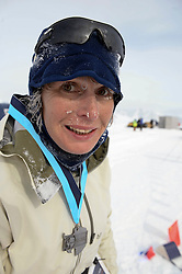 © Licensed to London News Pictures. Union Glacier, Antarctica. Great Britains FIONA OAKES at the finch line after winning the women's race in the 9th edition of the Antarctic Ice Marathon in record time. The Ice Marathon took place at Union Glacier, Antarctica, and is <br /> recognised as the world's southernmost marathon and the only official running event within the <br /> Antarctic Circle, taking place just a few hundred miles from the South Pole at the foot of the Ellsworth Mountains. Temperatures were an ice cool -21C when the event got underway at 13:10 GMT on Wednesday 20 <br /> November. A total of 56 athletes from 21 countries took part in the ninth edition of the event, which is <br /> an essential race for marathon runners seeking to join the Seven Continents Marathon Club. Photo credit: Mike King/LNP