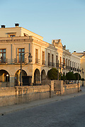 View of town street and hotel, Ronda, Andalusia, Spain