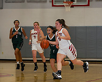 Belmont's Makenzie Donovan charges out ahead of Newfound's Savanna Bony during NHIAA Division III Basketball opener on Friday evening.  (Karen Bobotas/for the Laconia Daily Sun)