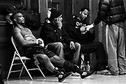 Diferson Legrand (left), from GYM U, is concentrating in the locker room at the Queens PAL, before fighting against Hajro Sujak in the 165-pound open quarterfinals of the 2005 Daily News Golden Gloves on March 10th.