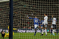 Wayne Rooney celebrates after scoring a 'goal' but sees it ruled out as offside goal .<br /> Premier league match, Tottenham Hotspur v Everton at Wembley Stadium in London on Saturday 13th January 2018.<br /> pic by Kieran Clarke, Andrew Orchard sports photography.