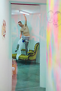 Eddie Peake (pictured performing) 'Concrete Pitch', a new exhibition, in the South Gallery, White Cube Bermondsey.