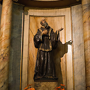 A statue in the Metropolitan Cathedral of Santiago (Catedral Metropolitana de Santiago) in the heart of Santiago, Chile, facing Plaza de Armas. The original cathedral was constructed during the period 1748 to 1800 (with subsequent alterations) of a neoclassical design.
