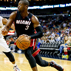 Oct 23, 2013; New Orleans, LA, USA; Miami Heat shooting guard Dwyane Wade (3) against the New Orleans Pelicans during the second half of a preseason game at New Orleans Arena. The Heat defeated the Pelicans 108-95. Mandatory Credit: Derick E. Hingle-USA TODAY Sports