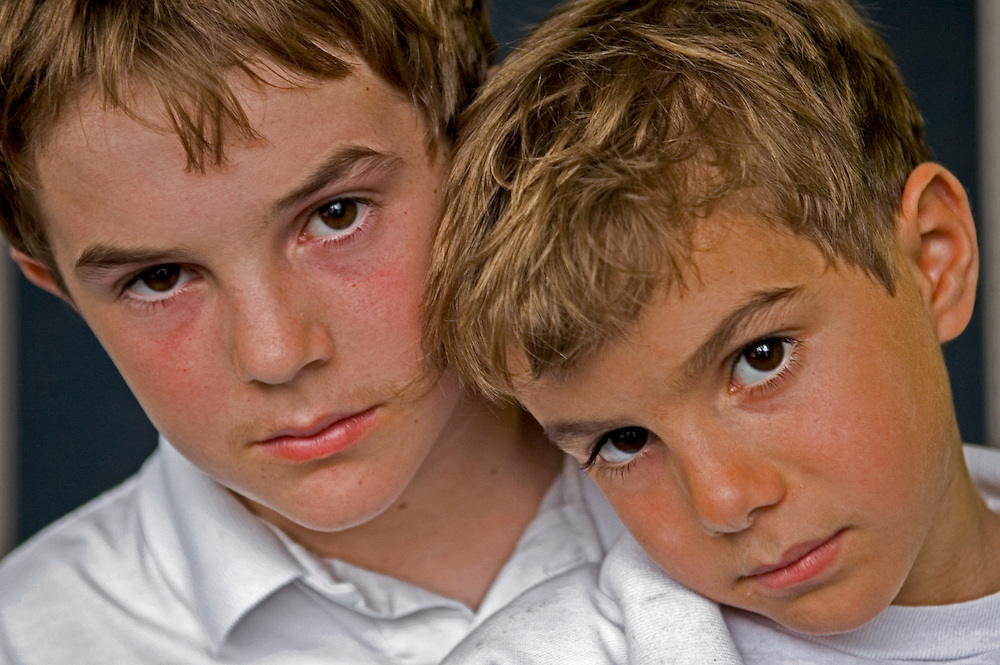 Two boys in Biloxi, Mississippi after Hurricane Katrina.