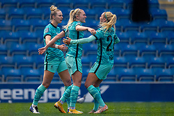 CHESTERFIELD, ENGLAND - Sunday, April 25, 2021: Liverpool's Amalie Thestrup (C) celebrates with team-mates Rhiannon Roberts (L) and Missy Bo Kearns (R) after scoring the first goal during the FA Women's Championship game between Sheffield United FC Women and Liverpool FC Women at the Technique Stadium. Liverpool won 1-0. (Pic by David Rawcliffe/Propaganda)