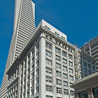 The Transamerica Building, a landmark of San Francisco, California, towers over fire trucks responding to an emergency.
